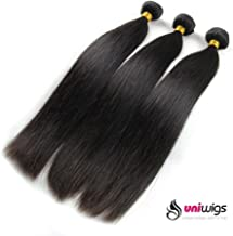 UniWigs Hair Mixed Length 3bundles 300g Virgin Brazilian Straight Human Hair Extension (26inches 28inches 30inches) Natural Color Can be Dyed