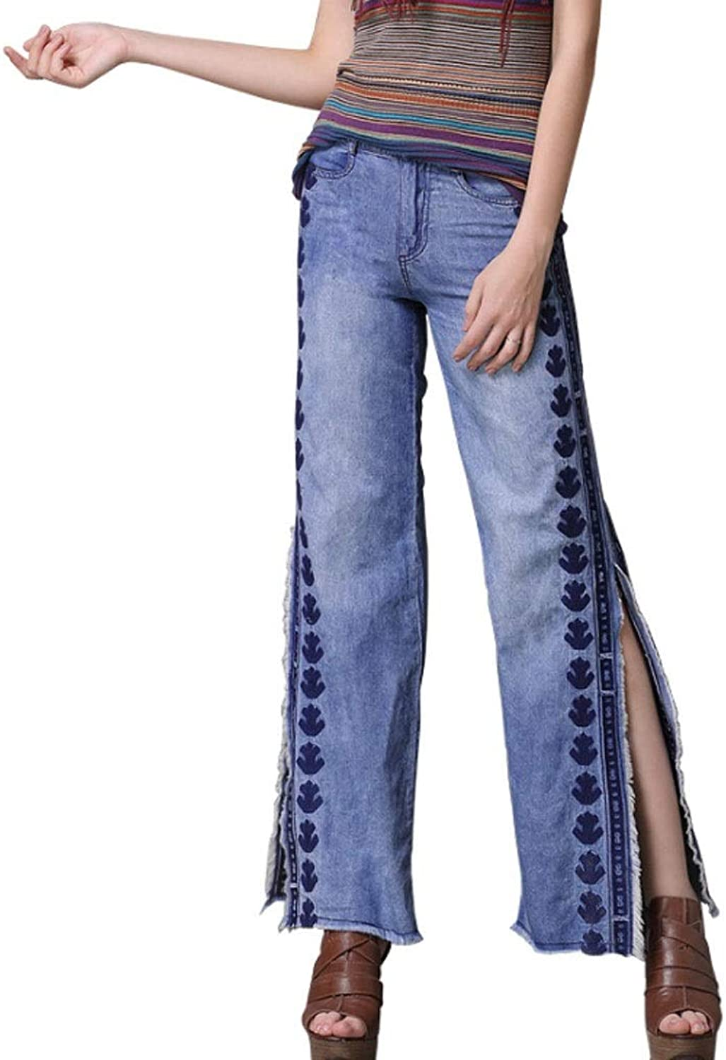 Embroidered Denim Trousers Woman Split Wide Leg Pants Retro Loose Casual (color   bluee, Size   S)