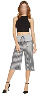 Women Sweatpants Drawstring High Waist Straight Knee Length Casual Sport Pants Ladies Striped Pants