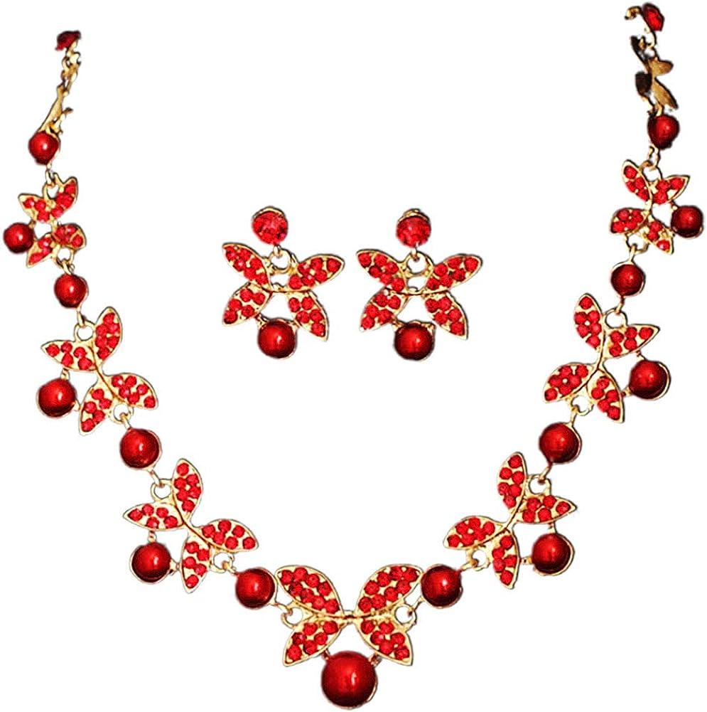 Tennessee526 Jewelry Sets, Women Faux Pearl Rhinestone Chain Necklace Stud Earrings Bridal Jewelry Set