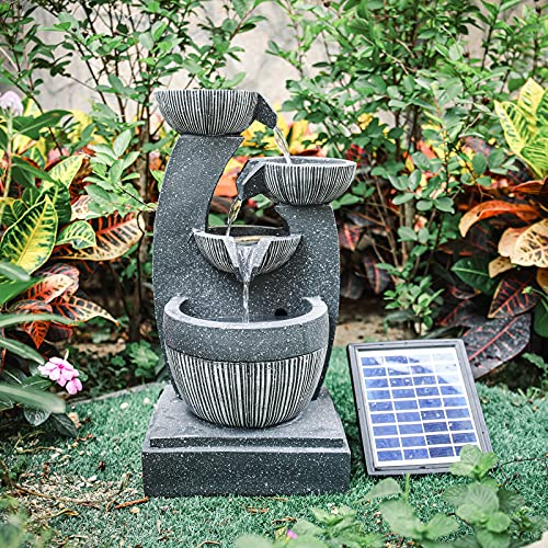 Garden Water Feature Decorate Cascading Tiered Water Fountain Pump Waterfall with LED Lights Indoor/Outdoor, Solar Powered, 4 Bowls Waterfall