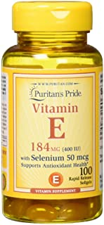Vitamin E 400 IU with Selenium 50 mcg for Immune Health by Puritan's Pride for Support of Immune System 100 softgels