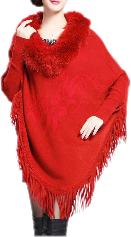 Highgrade Fur Collar Women Printing In The Long Section Tassels Knitwear Cloak Shawls Jackets,RedOneSize