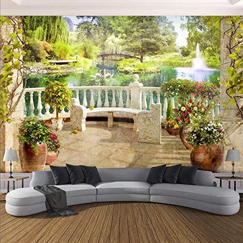 NIdezuiai behang wandschilderingen, stereo-installatie balkon tuin landschap aanpassen, 4D wallpaper TV-lisse wanddecoratie Modernste Hd-print-poster voor woonkamer slaapkamer inrichting grote zijdewandafbeelding 220cm(W)×140cm(H) (86×55)in zoals getoond