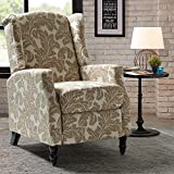 Classic Leaves Wingback Push Back Recliner Armchair for Living Room Home Theater - Tan/Beige