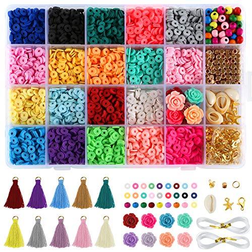 LIHAO Juego de cuentas de arcilla polimérica para manualidades, multicolor, con accesorios para pendientes, pulseras, collares, como regalo para niñas