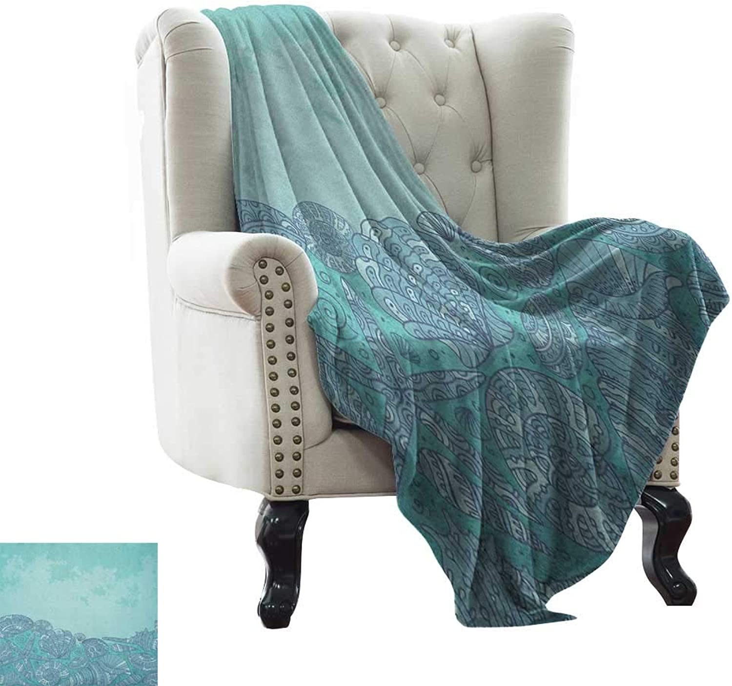 Weighted Blanket for Kids Nautical,Marine Beauty Shell with Seahorse Starfish Oysters Ocean Sea Tropical Image, Turquoise Teal Microfiber All Season Blanket for Bed or Couch Multicolor 50 x60