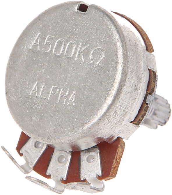 Potenciómetro A500K para guitarra eléctrica con efecto de bajo amplificador, tono de volumen, eje de 15 mm, diámetro de 24 mm