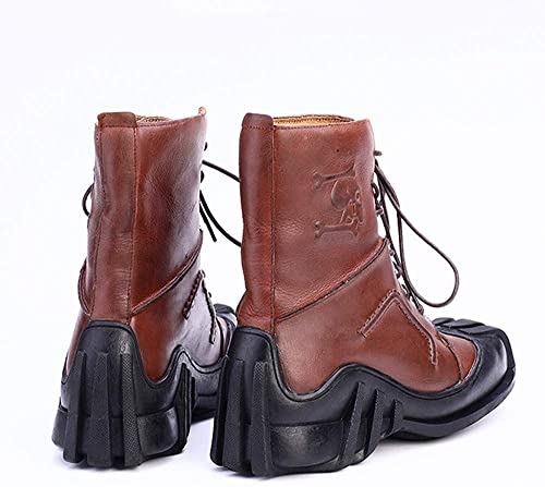 Best Ning Stiefel para Hombre Stiefel Martin de Cuero Stiefel Altas Stiefel de Moda Stiefel de Vaquero para Exterior Botines Retro para Motocicleta Stiefel para Motocicleta,braun,45