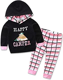Newborn Infant Toddler Baby Girl Happy Camper Long Sleeve Hoodie and Plaid Pants Casual Clothing Set 2-Piece