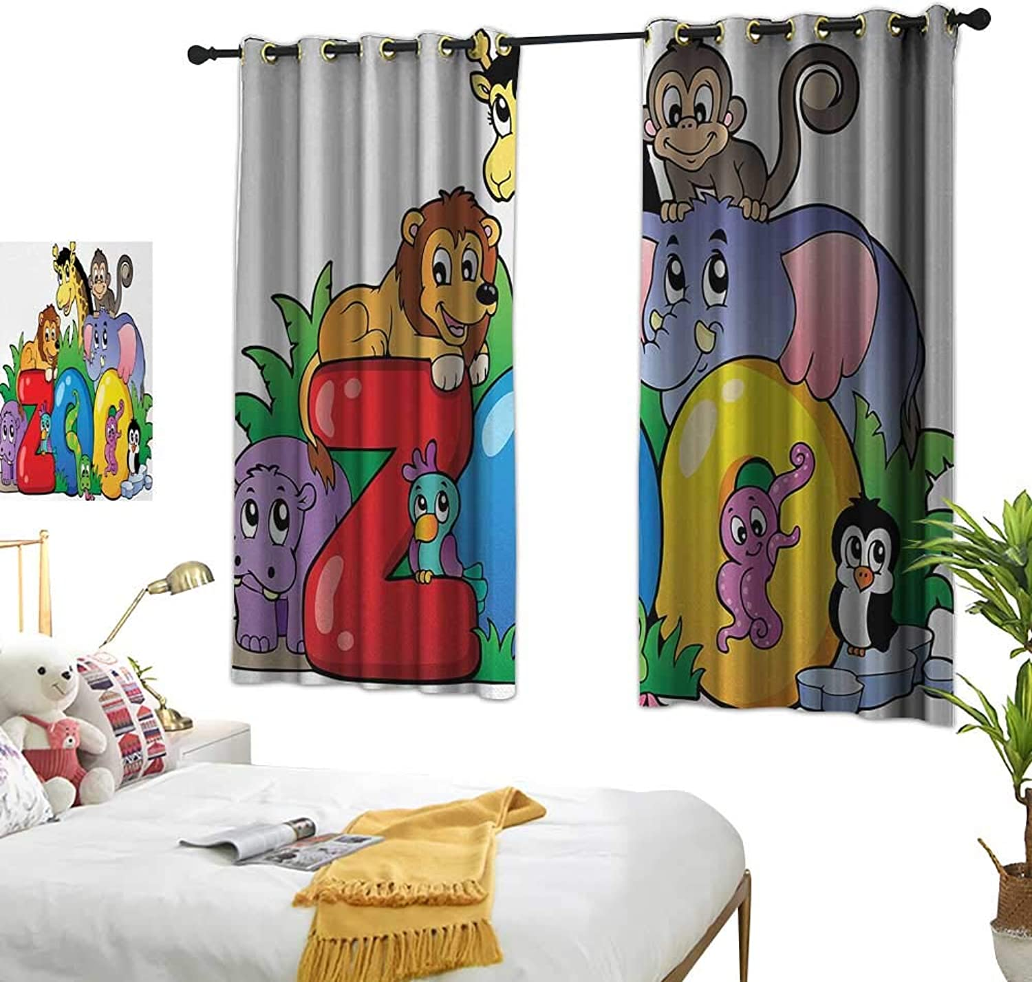 Drapes for Living Room Zoo Zoo Sign with Various Animals Mascot Cartoon Characters Cute Playful Kids Room Print W55 xL39 Multicolor Suitable for Bedroom Living Room Study,etc.