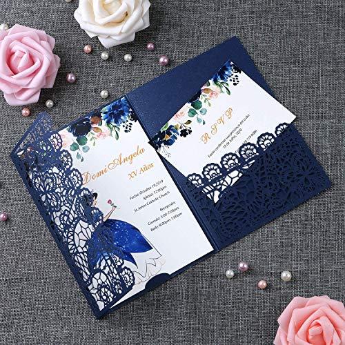FEIYI 20pcs 3 Folds Laser Cut Lace Flower Pattern Invitations Cards For Birthday Baby Shower Wedding Rehearsal Dinner Invites Birthday Invites(Navy Blue)