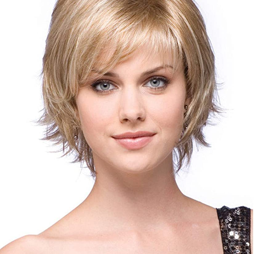 拷問予測プーノYOUQIU 人工毛ブロンドの女性のデイリーかつら用ウィッグショートカーリーヘアウィッグボブ (色 : Blonde)