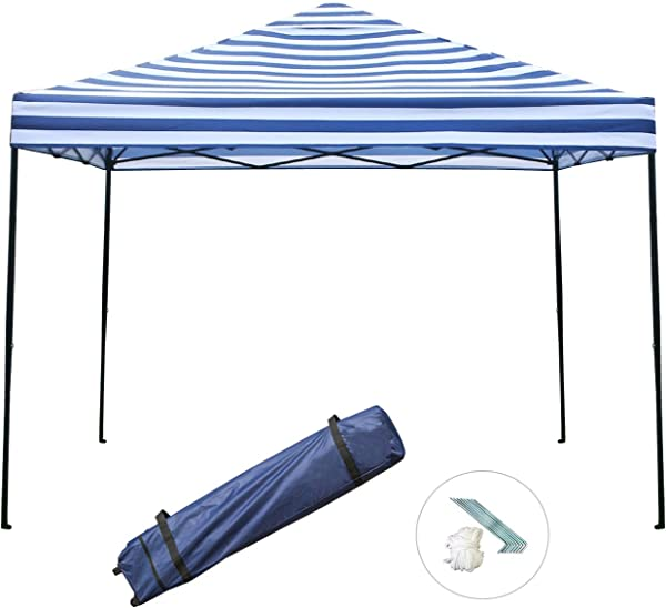 Sunnyglade 10 X10 Pop Up Canopy Tent Commercial Instant Tents Market Stall Portable Shade Instant Folding Canopy With Roller Bag Blue And White