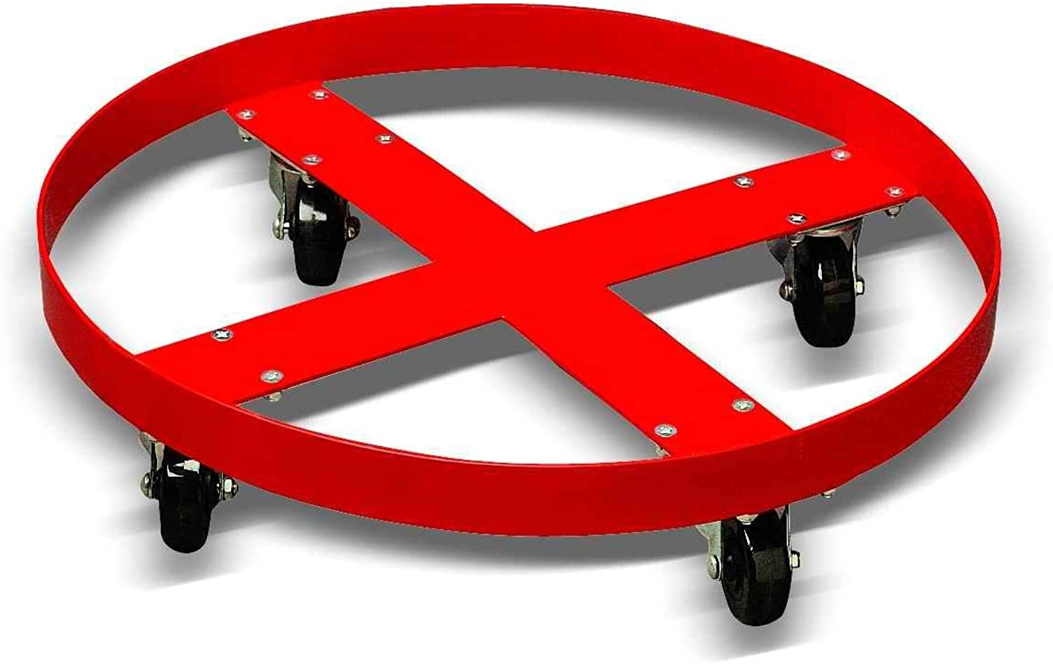 Giant Move CB-H20 Steel Drum Dolly for 55 Gallon Drum, 900 lbs Capacity, 24  Diameter x 5-1 2  Height, Red