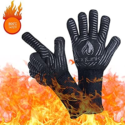 Anglink BBQ Grill Gloves, 1472F Extreme Heat Resistant Grilling Gloves for Cooking, Baking Smoker, Silicone Insulated Cooking Oven Mitts, Long Non-Slip Potholder Gloves