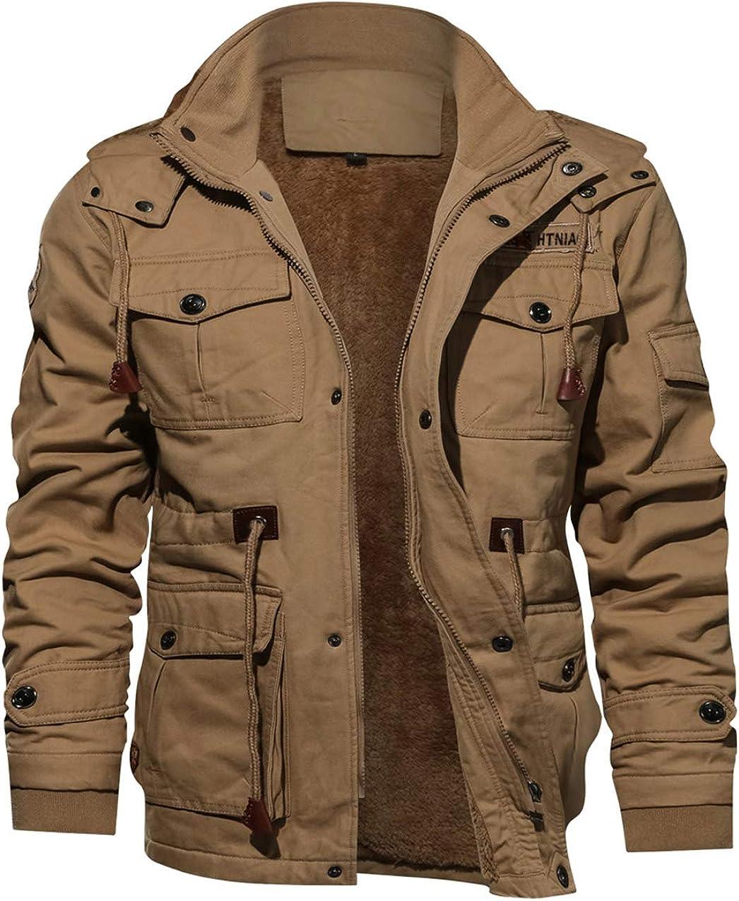 TACVASEN Men's Jacket-Casual Winter Cotton Military Jacket Thicken Hooded Cargo Coat