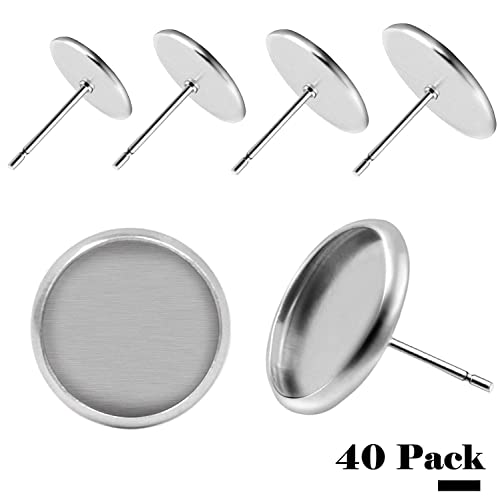 BronaGrand 40pcs Stainless Steel Stud Earring Cabochon Setting Post Cup Fit  for 12mm 4069f727080a