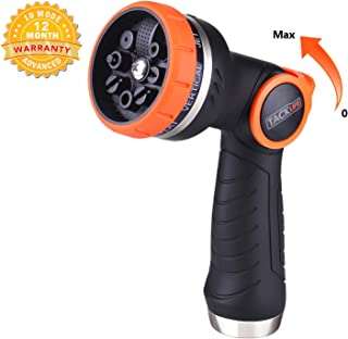 TACKLIFE Garden Hose Nozzle, 8 Patterns No-Squeeze Sprayer Nozzle, High Pressure Heavy Duty, Flow Control 0-max and Suitable for Car Washing, Garden Watering, Dog Showering GHN2A