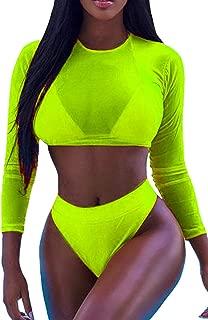 Womens Sexy High Waist Rash Guard Swimwear Long Sleeve 3PCS Swimsuit