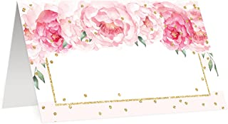 50 Pack Table Place Cards All Occasion Assigned Seating Escort Placecard Blush Pink Peonies Scored Folded Tented 3.5