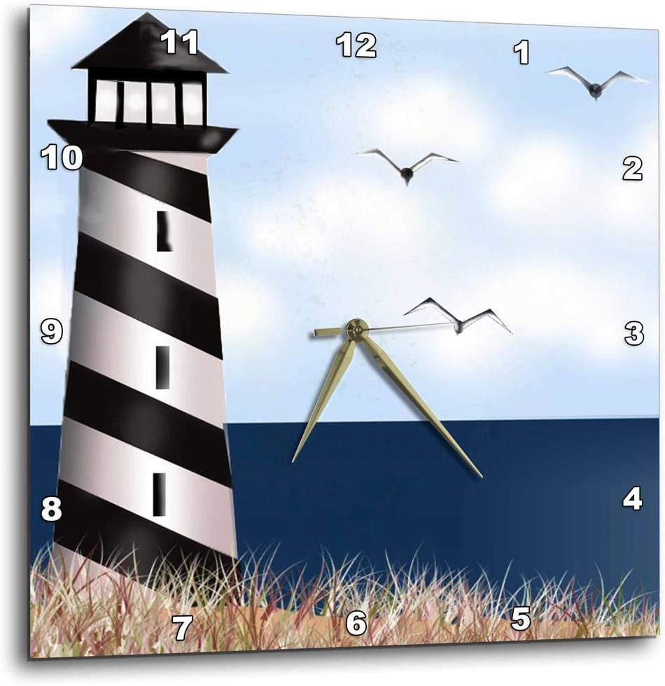 3dRose Lighthouse 5 popular on The Max 68% OFF Beach - DPP_ by 10-Inch Clock 10 Wall