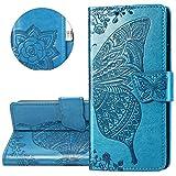 XIFAN Custodia Flip per LG K50S, Custodia in Rilievo 3D, Custodia a Portafoglio in Pelle Vintage con Supporto e Costruita in Chiusura Magnetica, Blu