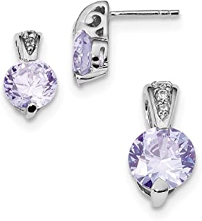 Sterling Silver Polished Post Earrings Rhodium-plated Lavendar Cubic Zirconia Earrings and Pendant Set