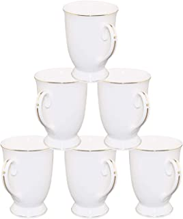 New Bone China Porcelain Mug - 11 OZ Pure White New Bone China Embossed Gold Trim Ceramic Cups Set of 6 for Coffee, Tea, Cocoa