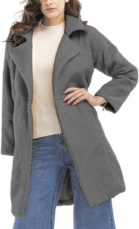 Womens Long Sleeve Winter Autumn Thicken Woolen Coat Overcoat