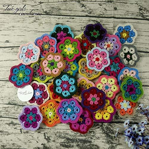 SGAHEIWI Decoración Crochet Doilies Hecho a Mano Crochet Cup Pad Multicolor Flores Posavasos Mesa Redonda Esteras Ropa de Lana Parche 30PCS