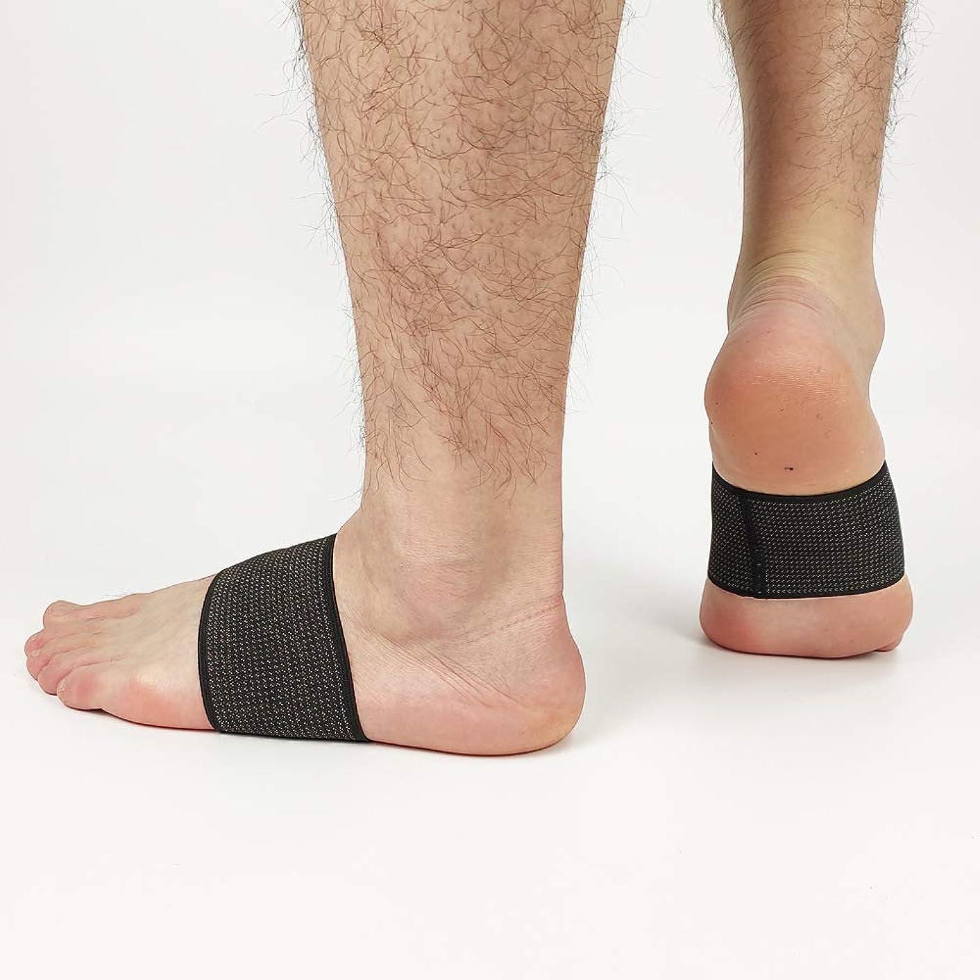 ショートカットデンマークトランペット足底筋膜炎倒れたアーチのためのクッション付き圧縮アーチサポート,L