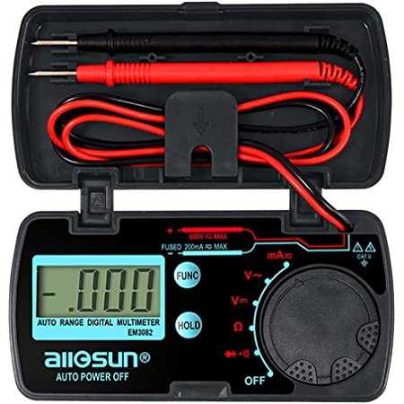 allsun Mini Auto Range Digital Multimeter AutomotiveTester AC DC Volt AMP OHM LCD Voltmeter Ammeter Tester Tool Auto Power Off Data Hold EM3082