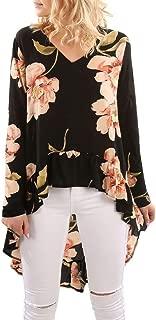 UONQD Woman Women Floral Print Long Sleeve Shirt Casual Blouse Ruffles Irregular Tops