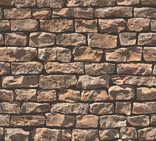 A.S. Création Vliestapete Best of Wood`n Stone Tapete in Naturstein Optik 10,05 m x 0,53 m beige braun schwarz Made in Germany 907912 9079-12