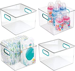 mDesign Storage Organizer Container Bin with Handles for Baby Supplies in Kitchen, Pantry, Nursery, Bedroom, Playroom - BP...