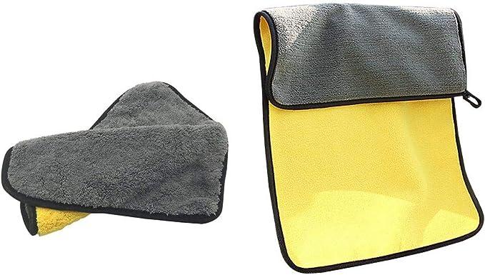 Mcbbigxw Microfasertuch Autopflege Set Mikrofasertücher Putztuch Microfaser Tuch Auto Motorrad Für Polieren Waschen Trocken Staubwischen Und Pflegen 2 Größen M L 30 60cm L 10 Auto