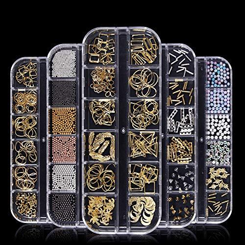 New popularity 5 Boxes Nail Art Rhinestones Shiny Mo Charms Hollow Rivets Trust Metal