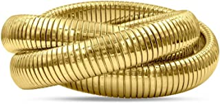14K Gold Plated High Polished Triple Rows Stretch Intertwined Bracelets