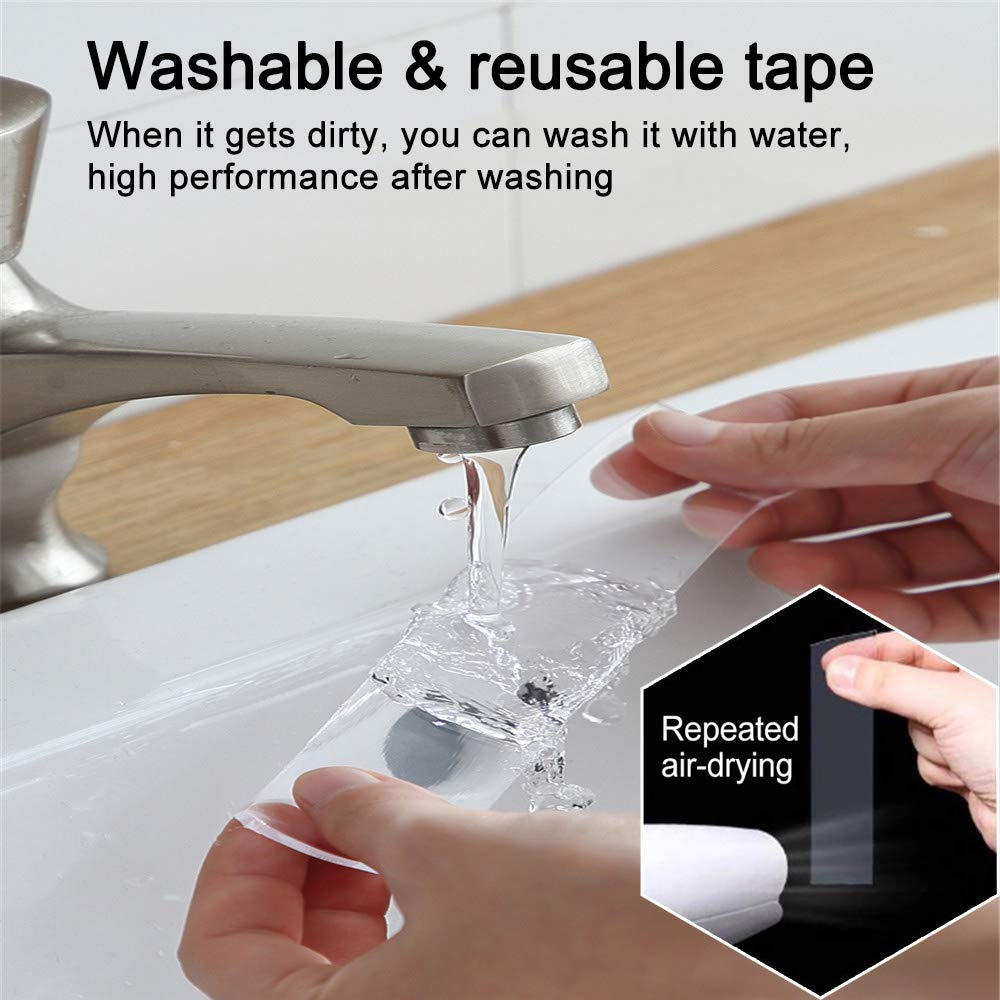 Home and Office Use Reusable Traceless Clear Sticky Adhesive Mounting Tape Heavy Duty for Festival Decor Double Sided Nano Tape Fix Carpet Mats Photos//Posters 1.5M//4.92FT Removable Gel Grip Tape