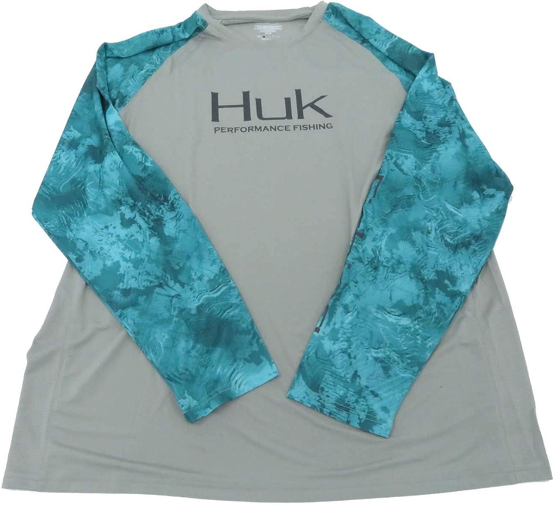 Huk Men's Double Header Vented Long Sleeve Sleeve Sleeve Shirt, Grey, Small f787a6