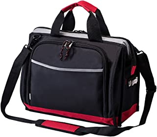 16-inch Tool Bag with 25 Pockets, Wide Mouth Tool Storage Bag with Adjustable Shoulder Strap and Extra Bottom Base, Great for Electrician, Engineers, Plumber, Mechanic and Cable Repairman