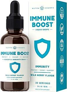 Immune Boost Organic Drops Liquid Health Supplement - Powerful Immune System Support with Vitamin C, Zinc, Elderberry, Echinacea, Ginger & Reishi Mushroom - Vitamin & Herb Defense Booster - 2oz Berry
