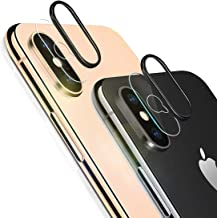 iPhone Xs Max Camera Lens Protector, [2 Pack] Ultra-Thin High Definition Anti-Scratch Camera Tempered Glass Screen Protector Film with 2pcs Camera Protective Ring Compatible iPhone Xs Max/XS
