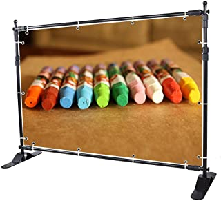 WinSpin 8' Step and Repeat Display Backdrop Banner Stand Adjustable Telescopic Trade Show Wall Exhibitor