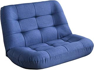 タンスのゲン 座椅子 2人掛け 5段階リクライニング 立体構造 へたりにくいポケットコイル 広々座面 ローソファ ソファー ソファ ファブリック生地 インディゴブルー 15210066 02 【67968】