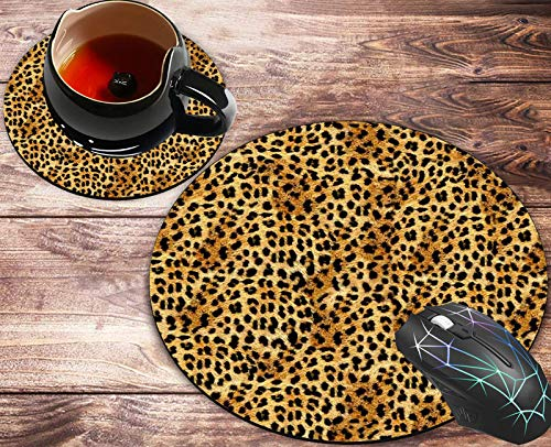 Round Mouse Pad and Coasters Set, Leopard Mousepad, Anti Slip Rubber Round Mousepads Desktop Notebook Mouse Mat for Working and Gaming