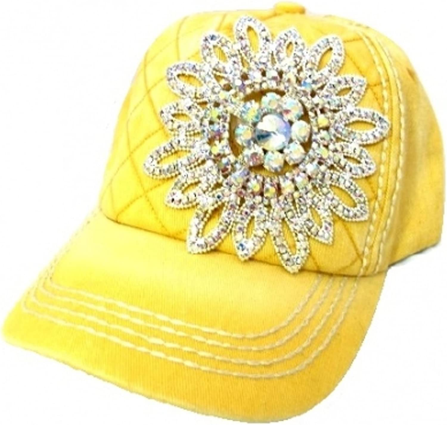 Womens Olive & Pique Iridescent Rhinestone Flower Quilted Baseball Cap