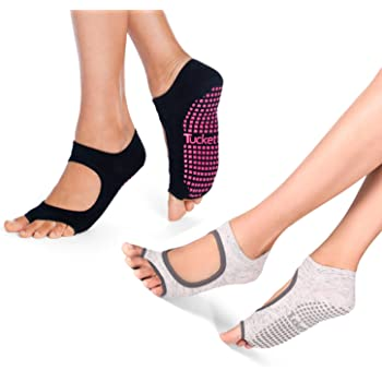 Ballet Barre YISK Store Socks for Women Non Slip Toeless Non Skid Sticky Grip Sock Pilates