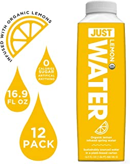 JUST Water Infused | Organic Fruit Flavored Spring Water | Eco-Friendly Boxed Bottled Water | Zero Sugar, Artificial Flavors, or Sweeteners, 8.0 Alkaline pH | Lemon, 16.9 Oz, (Pack of 12)